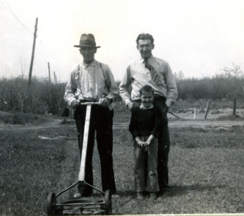 Mowing the lawn - August, 1940